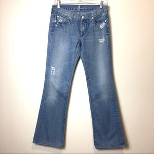 7forAllMankind bootcut distressed jeans.Sz 28